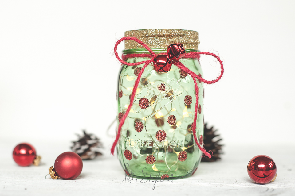 DIY Green mason jar Christmas tree decor or gift jar.