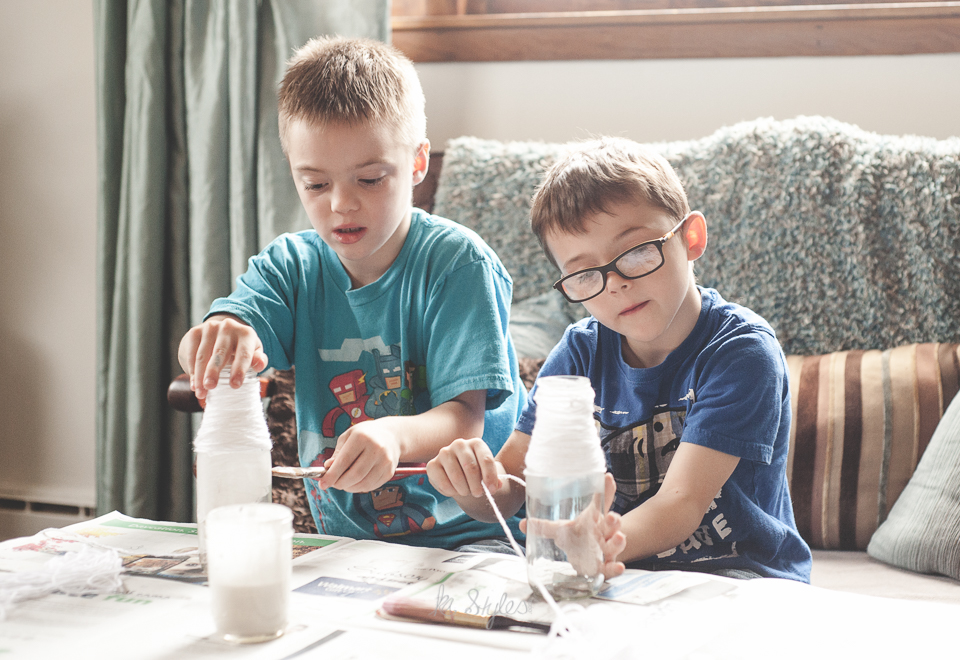 Yarn wrapped reindeer upcycled jar, kids crafts