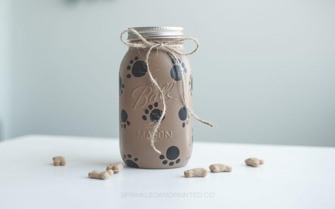 Paw Painted Dog Treat Mason Jar