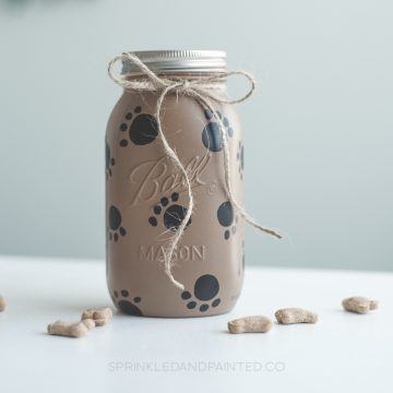Paw Painted Dog Treat Mason Jar