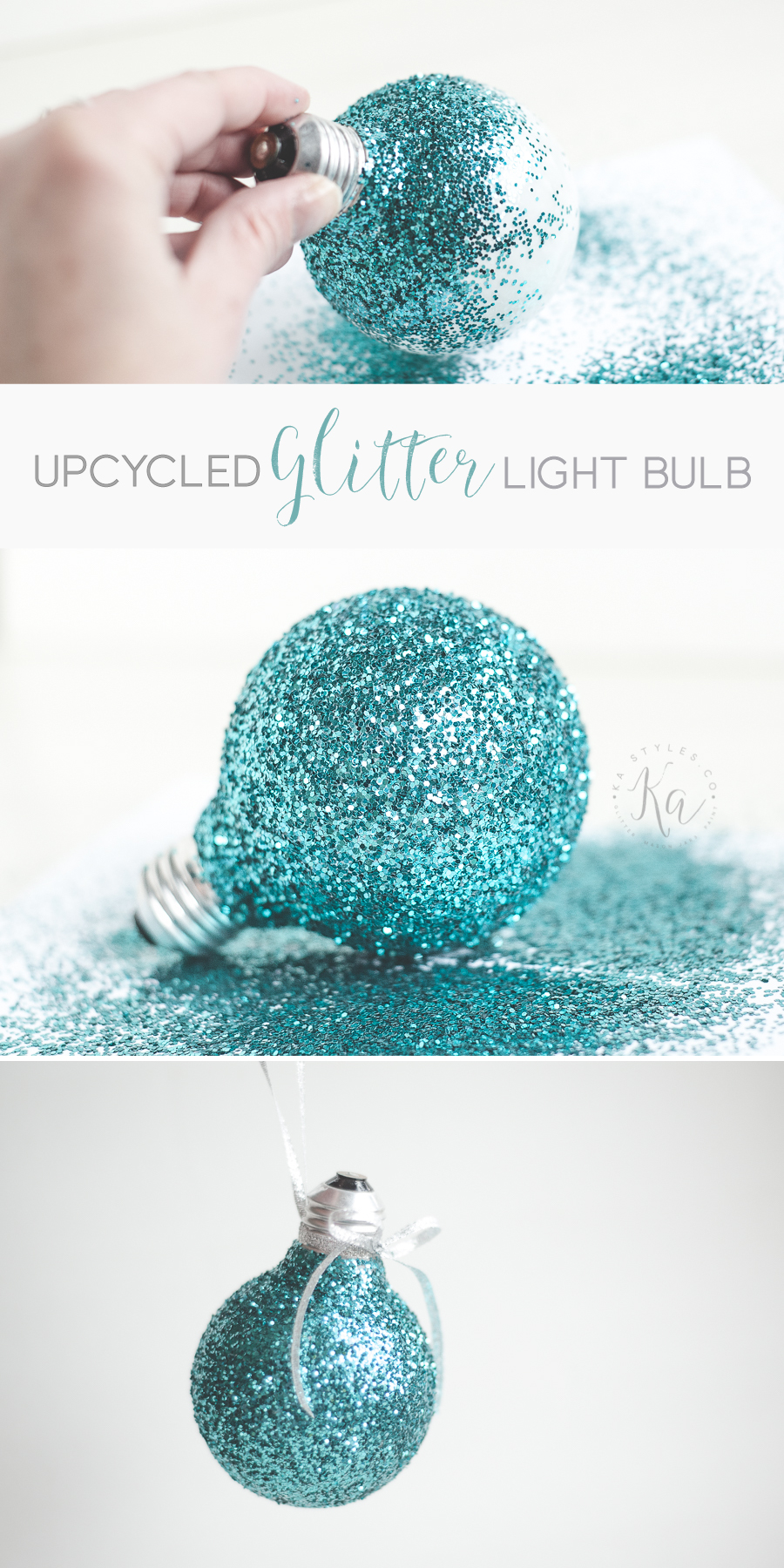 Upcycled glitter light bulb holiday ornament.