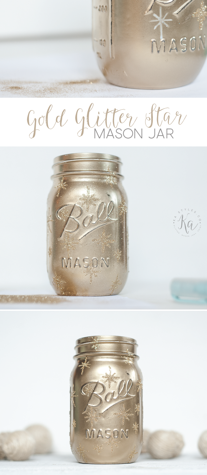 Gold painted mason jar with gold glitter stars for Christmas or New Years. Cute luminary.