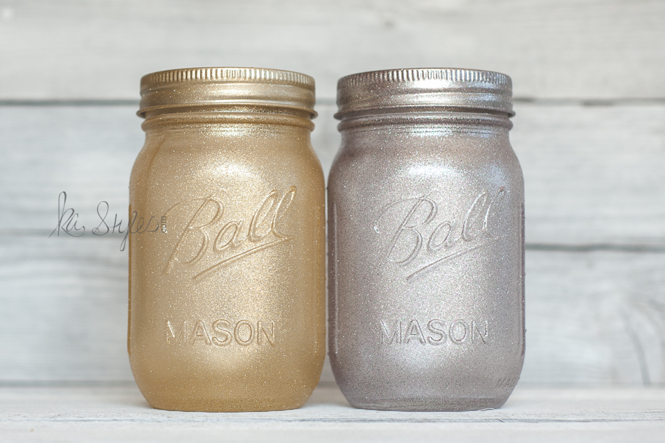 Gold and silver spray glitter mason jars.