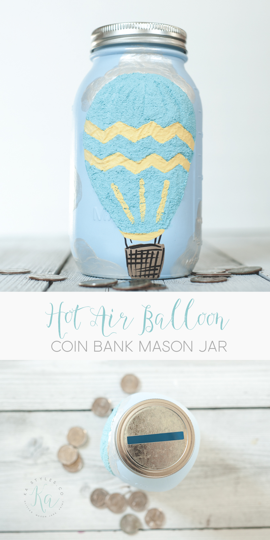 DIY Hot air balloon mason jar coin bank.