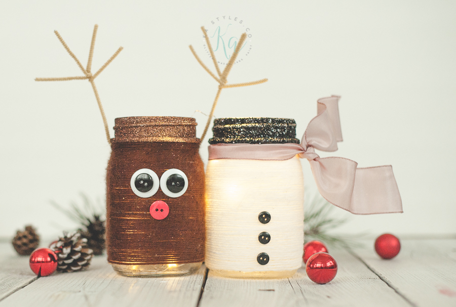 Reindeer Mason Jar Luminary Sprinkled And Painted At Ka Styles Co