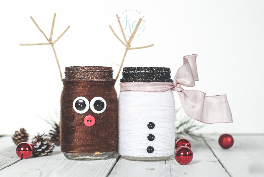 rn wrapped holiday mason jars.