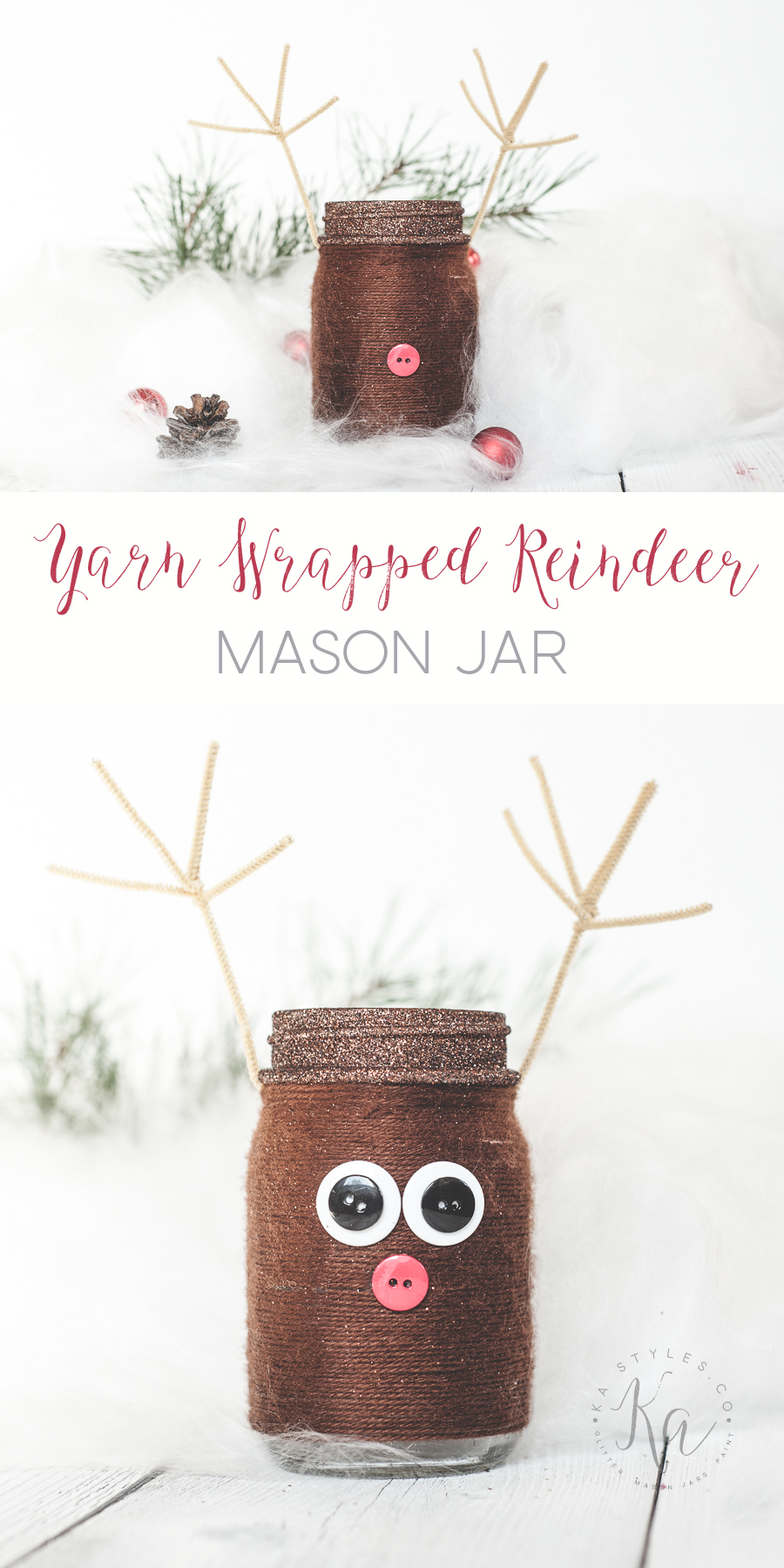 DIY yarn wrapped reinderr mason jar gift jar, luminary or decor.