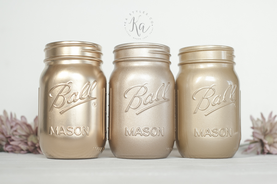 Rust-oleum metallic gold spray paint colors. Painted on glass mason jars.
