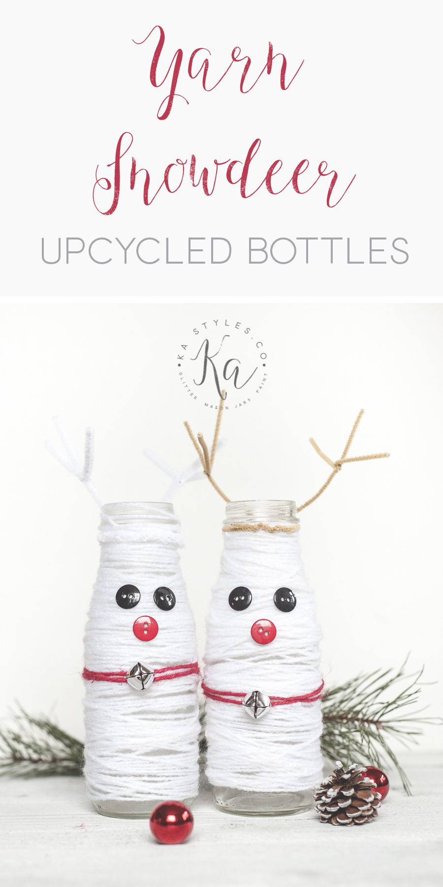 DIY Yarn wrapped reindeer upcycled bottles.