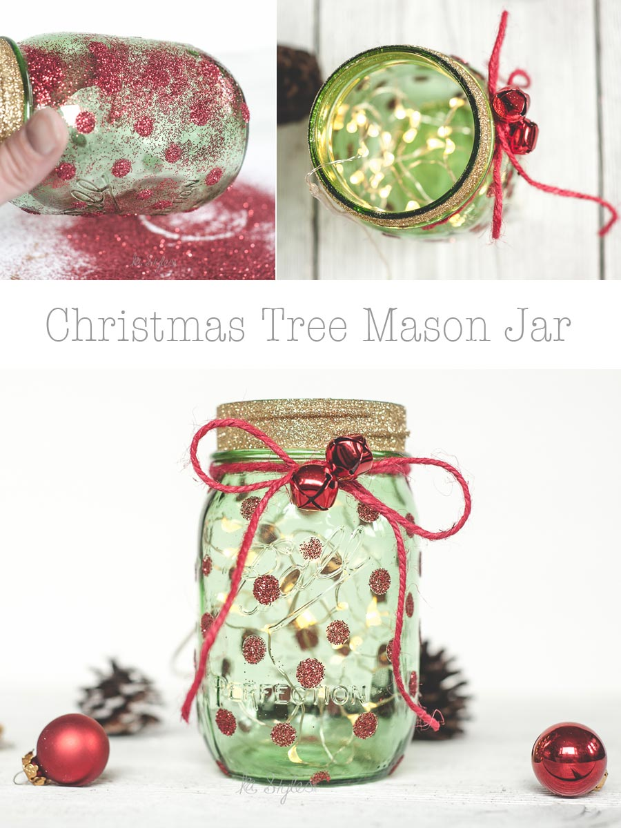 DIY Green mason jar Christmas tree decor or gift jar.