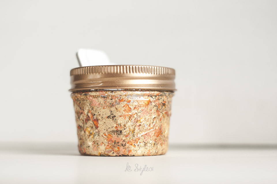 Gold leaf mason jar business card holder.