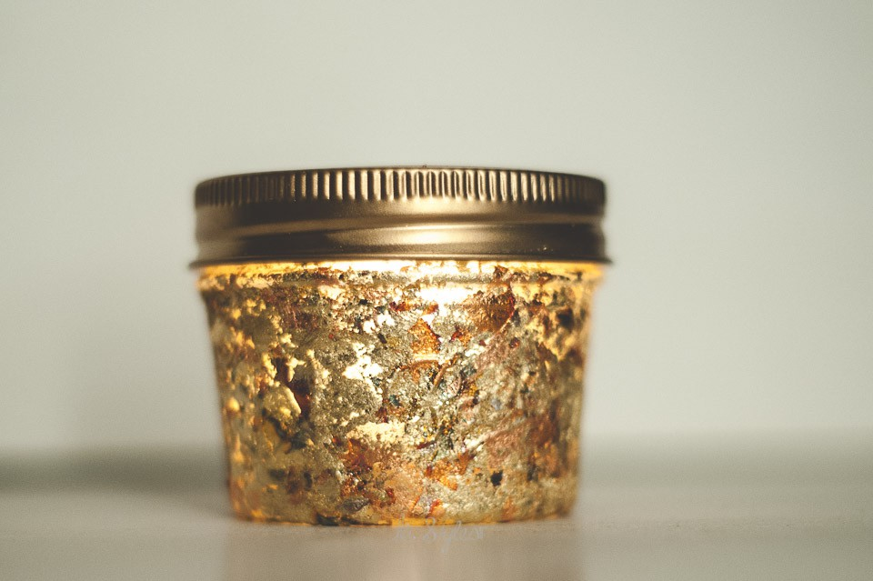 Gold leaf mason jars