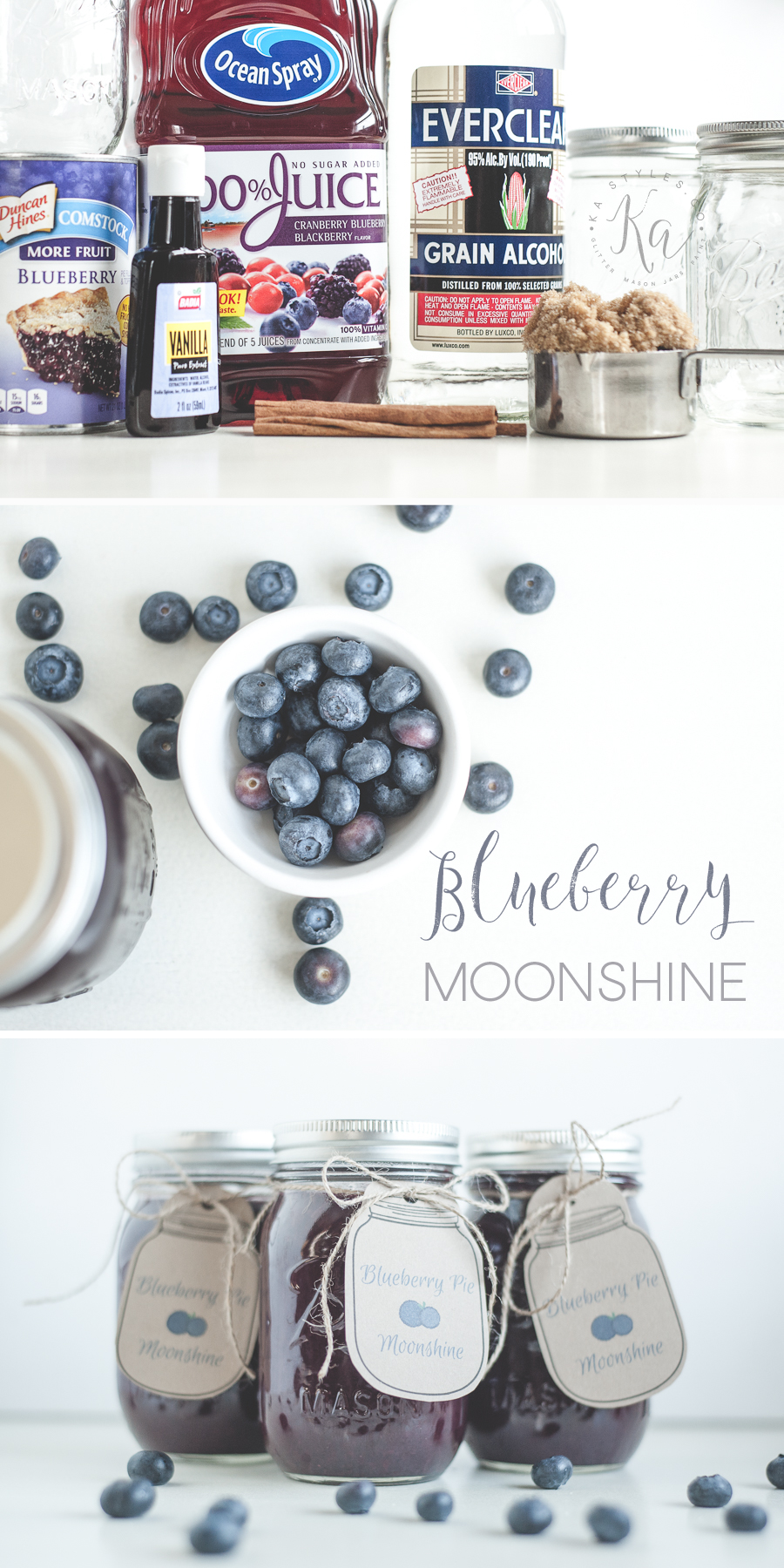 Blueberry Pie al a mode moonshine recipe with a free printable mason jar tag.