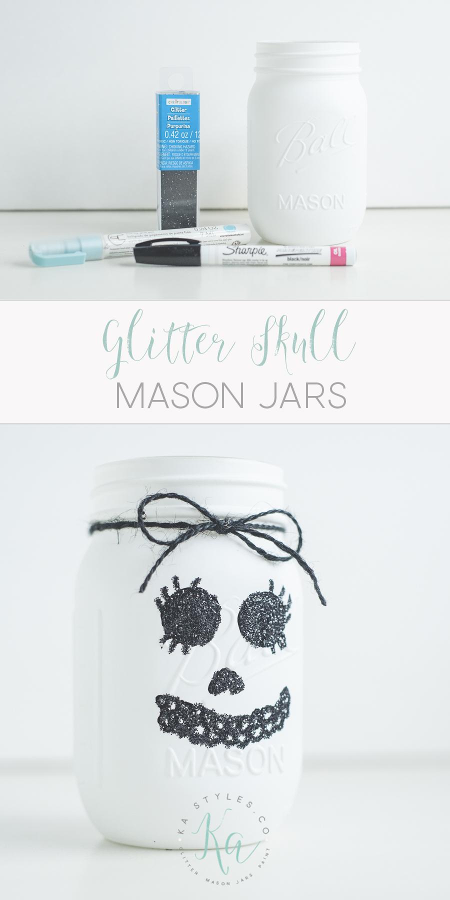 DIY Glitter skull mason jar.