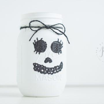 Glitter Skull Mason Jar