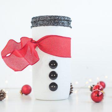 How to Make a Snowman Mason Jar