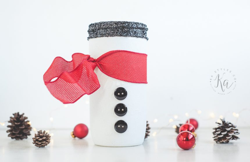 How to Make a Snowman Mason Jar