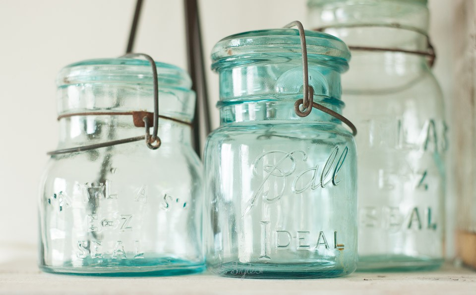 vintage aqua blue mason jars