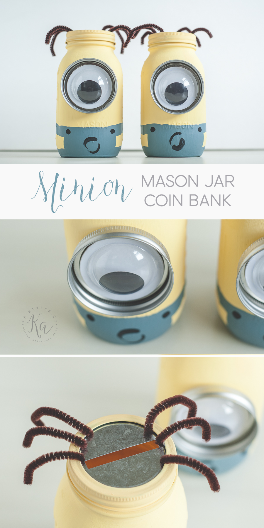 DIY Minion mason jar coin banks.
