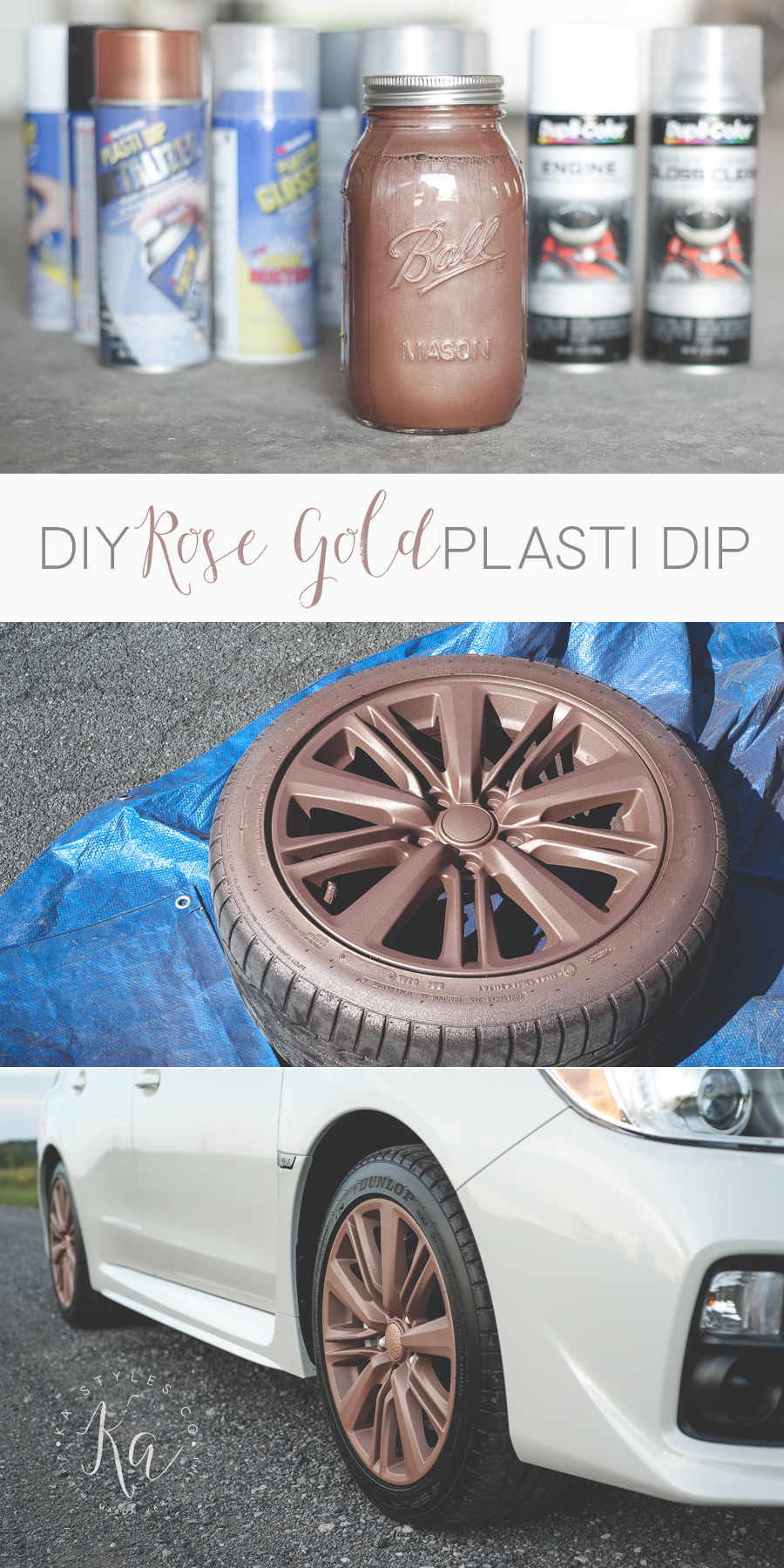 DIY rose gold Plasti Dipped WRX rims.