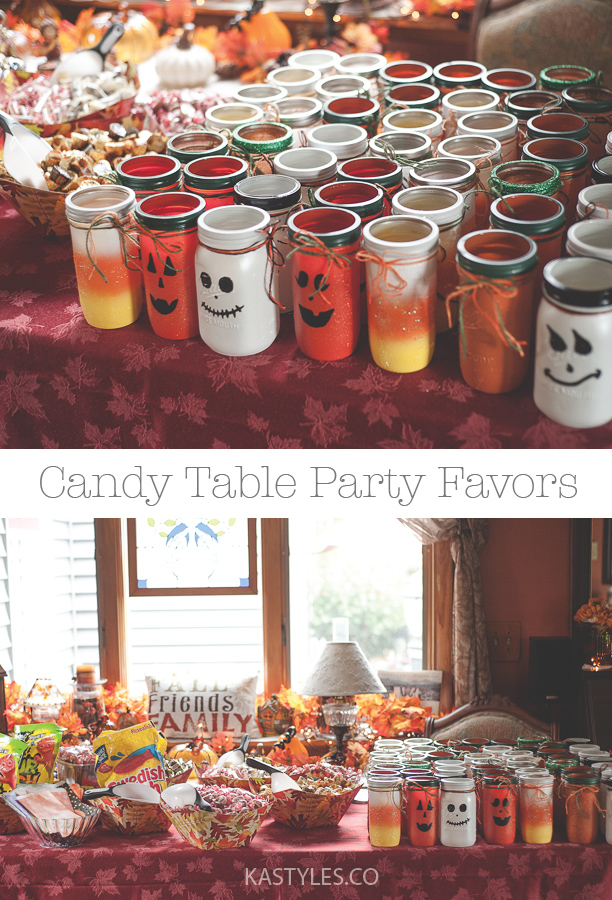 candy corn pumpkin and ghost mason jars