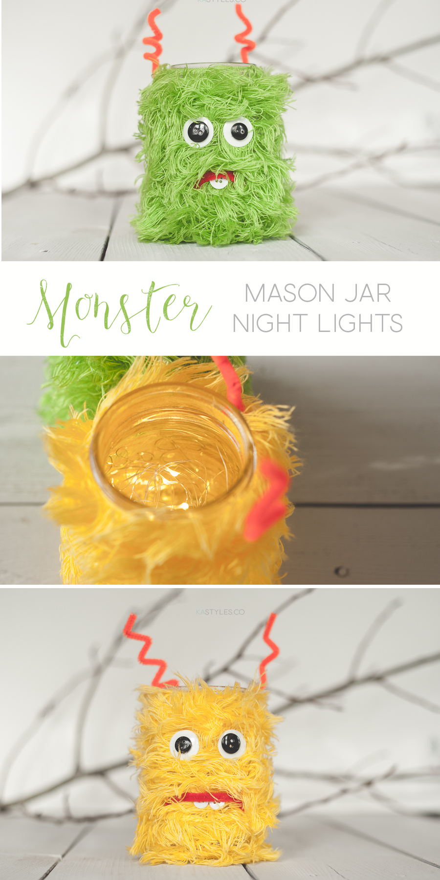 Eyelash yarm wrapped monster mason jar night lights with mini LED lights. Fun kids craft.
