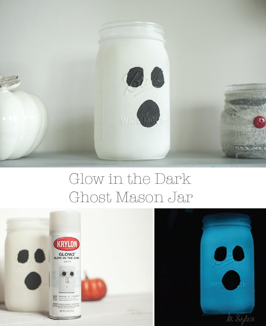 DIY Ghost mason jars with glow in the dark spray paint.