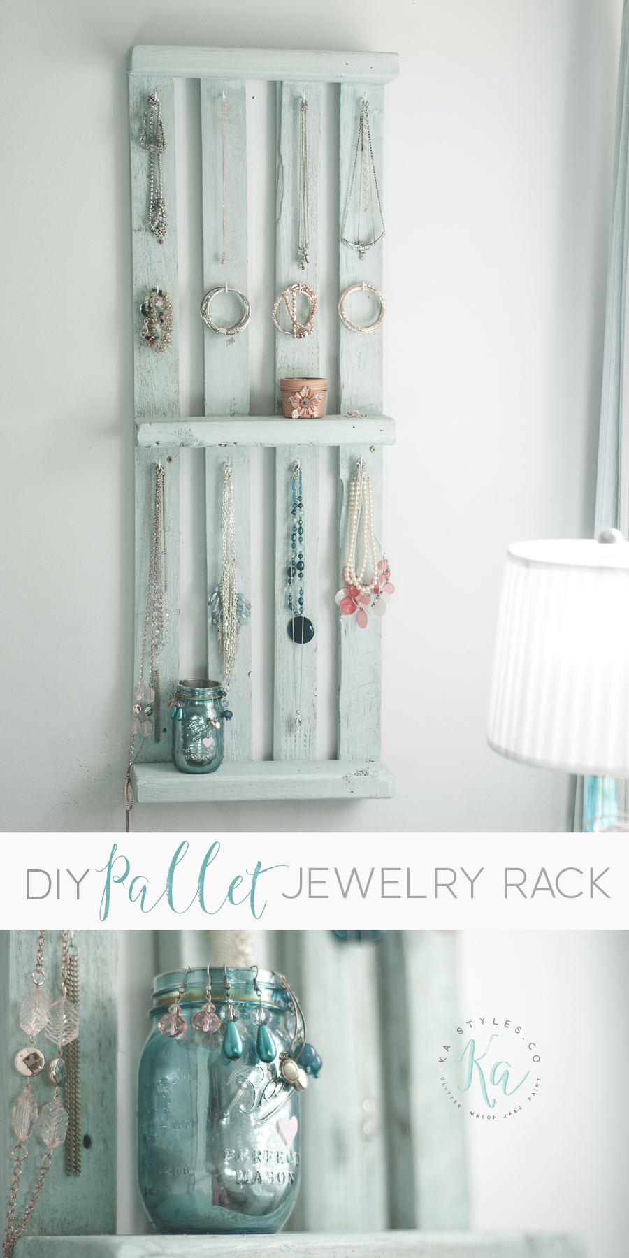 DIY jewelry pallet wall rack.