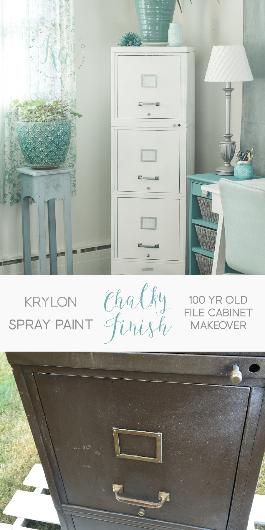 Krylon Chalky Finish spray paint file cabinet makeover.