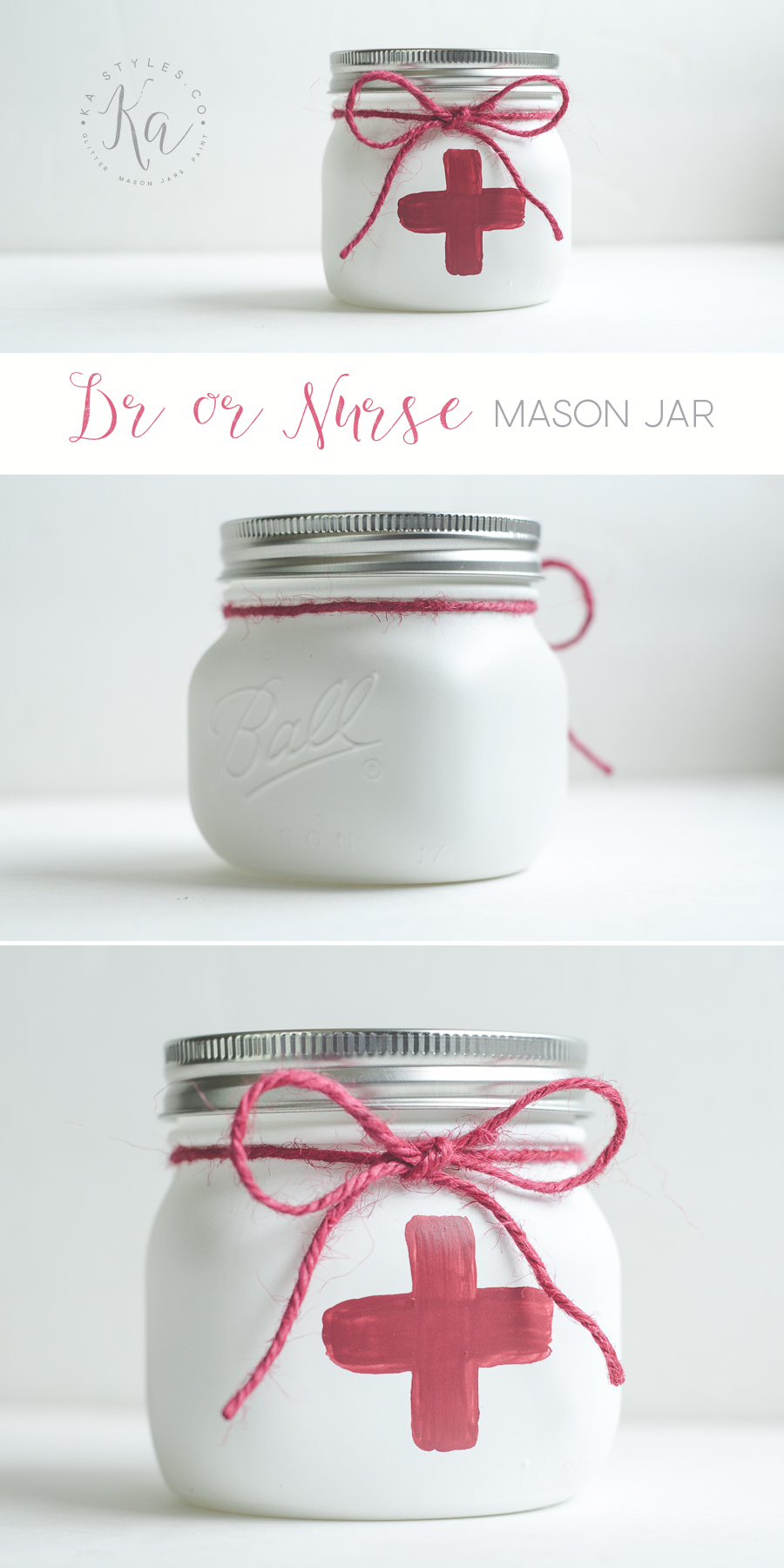Medical Dr or Nurse mason jar. Using Krylon Chalky Finish spray paint. Perfect for pens or other office goodies.