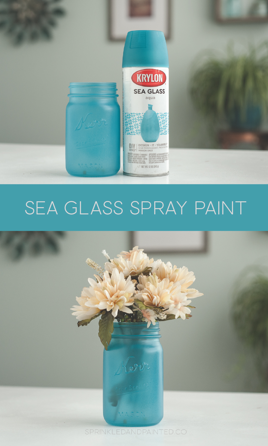 Krylon Sea Glass spray paint, aqua.