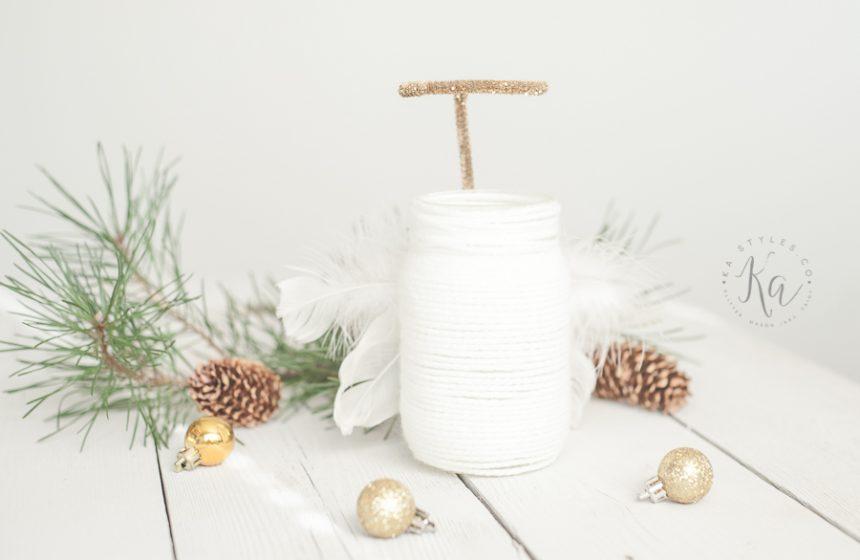 Yarn Wrapped Angel Mason Jar