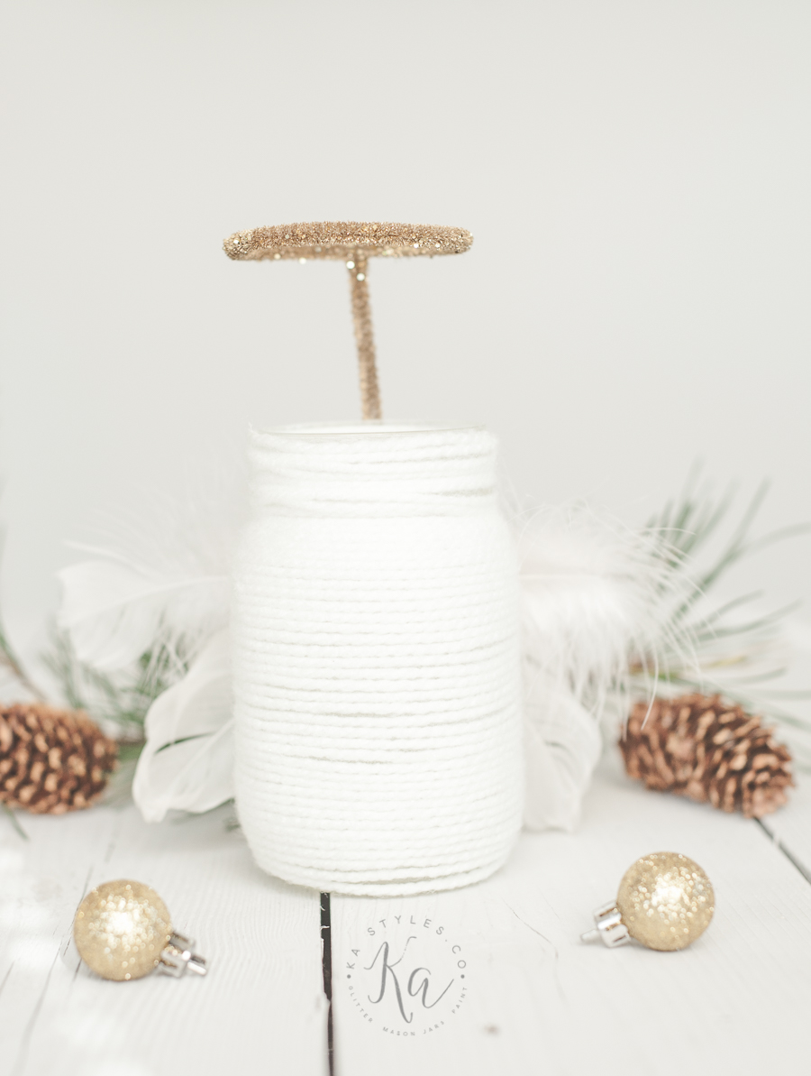 Yarn wrapped Angel mason jar luminary.