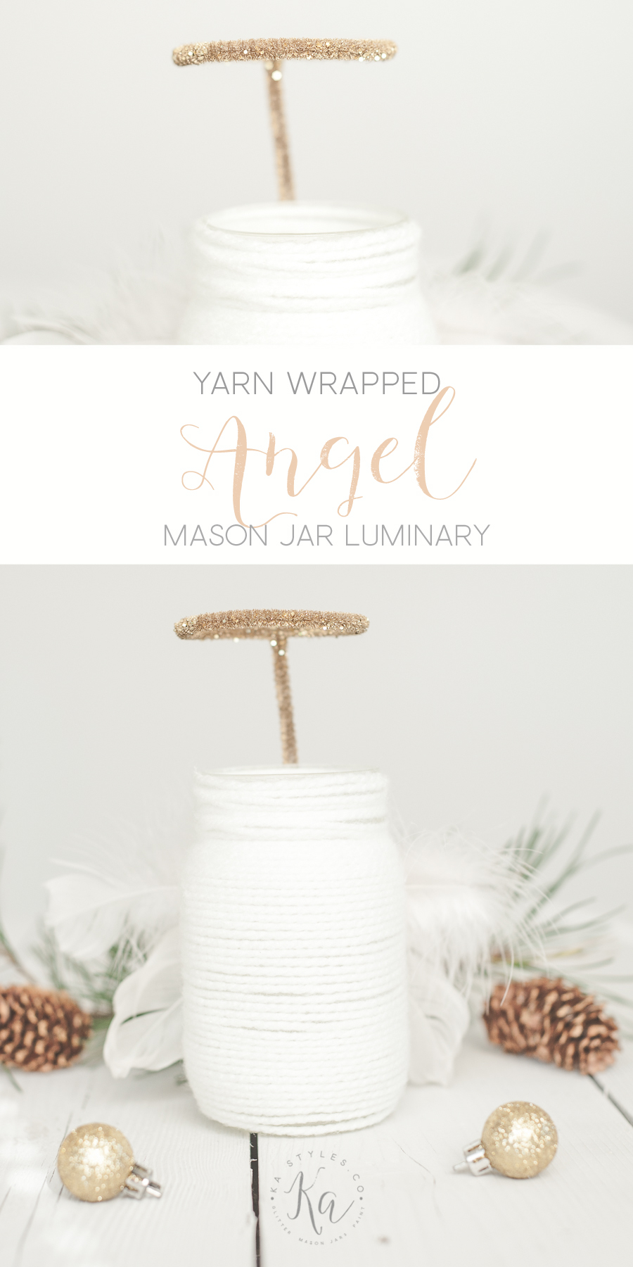 DIY Yarn wrapped Angel mason jar luminary.