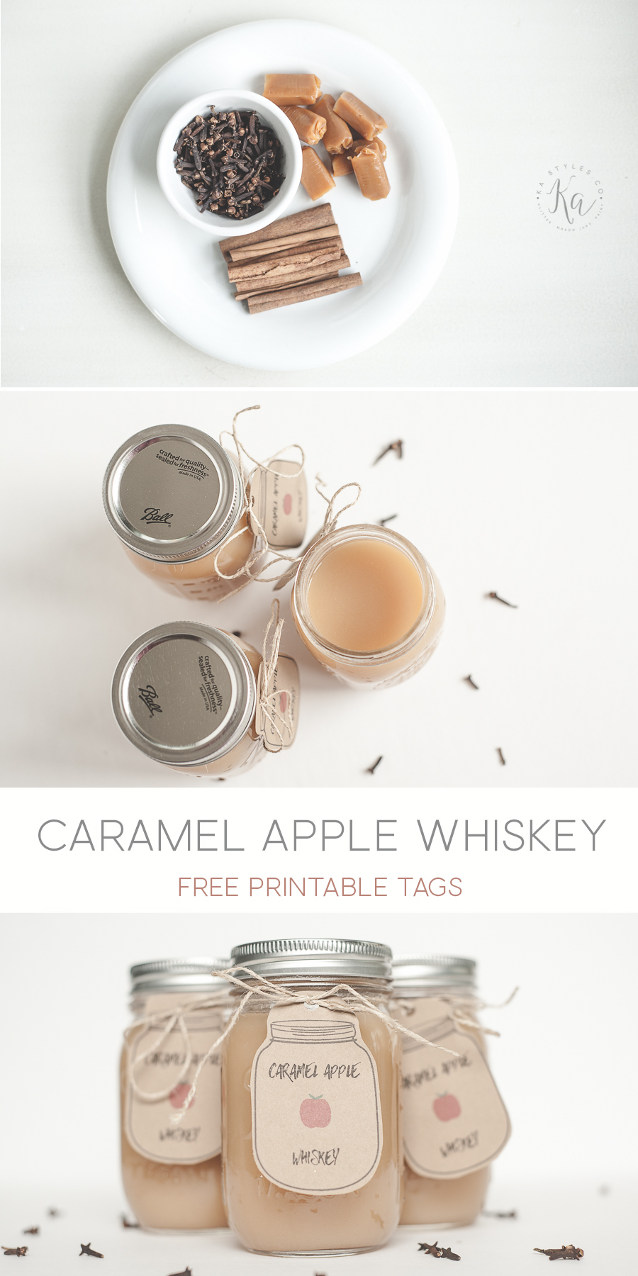 Carmel apple whiskey recipe. Pefect for holiday gift for Christmas or fall. Free printable mason jar tag.