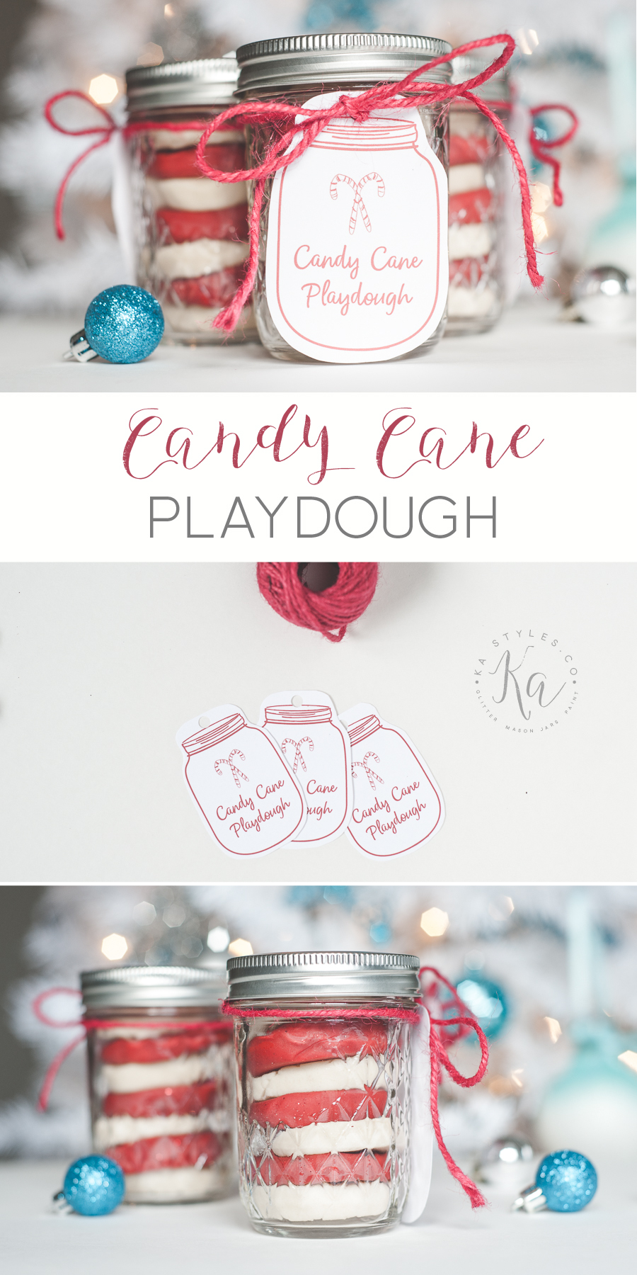 Homemade Candy Cane playdough with free printable mason jar tag.