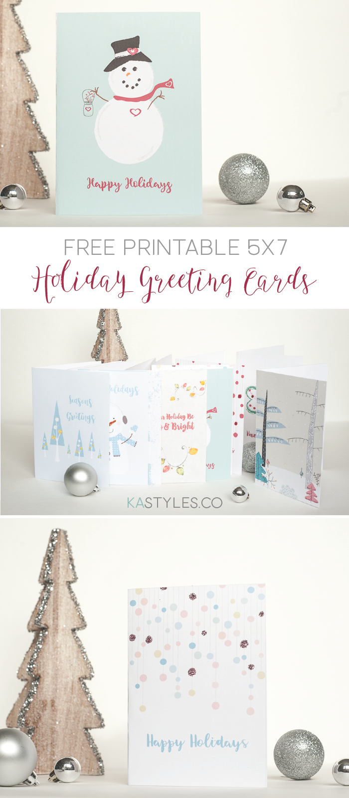 Free printable Holiday greeting cards. 5x7, use with A7 envelopes.