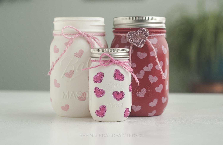 Heart Stamped Valentine's Day Mason Jars