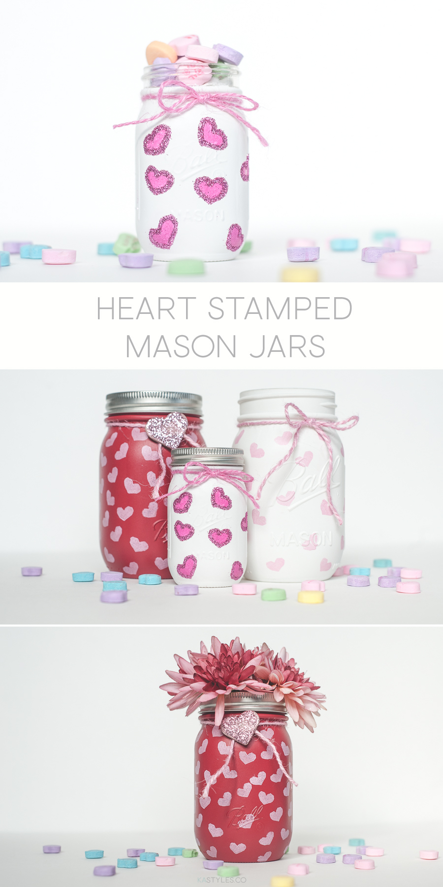 DIY heart stamp Valentine's Day mason jars with spray paint. The new mini mason jars. Perfect for a teachers gift or party favors.