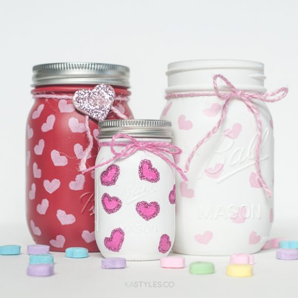 Heart Stamped Valentine's Day Mason Jars