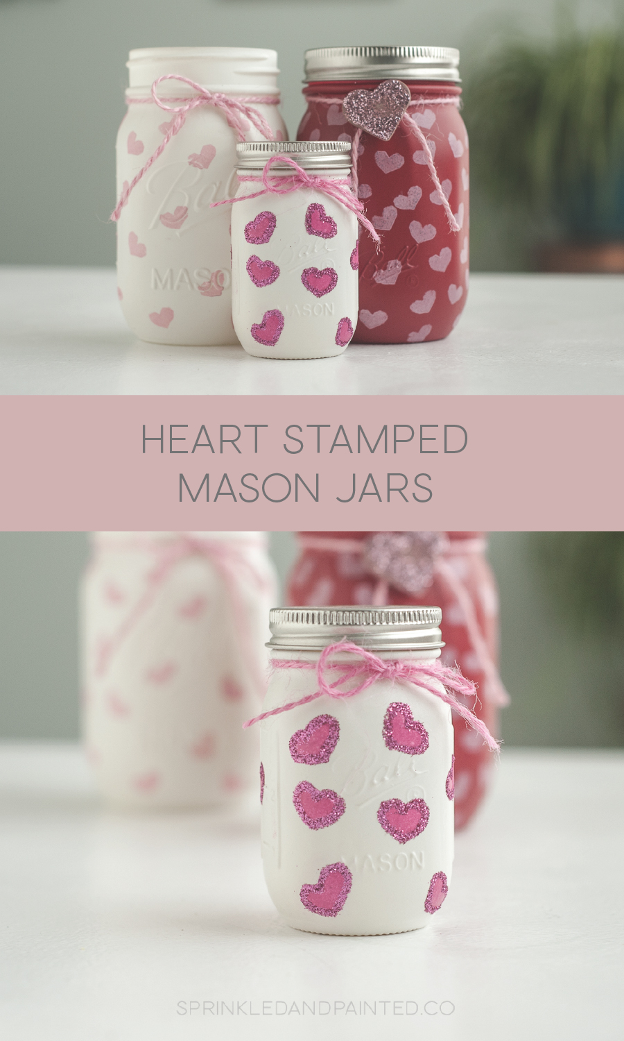 Stamped heart Valentines Day mason jars.