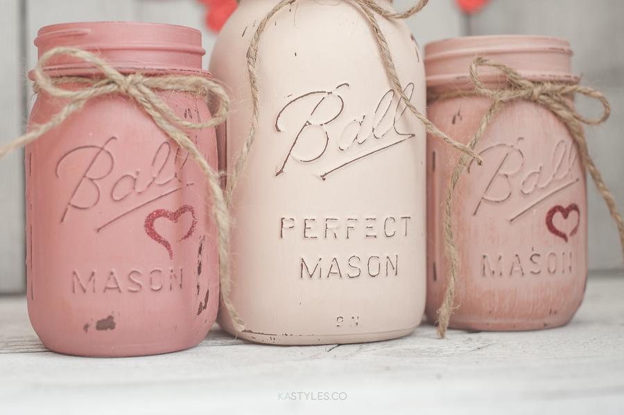 Latex Painted Mason Jars for Valentine's Day - KA Styles