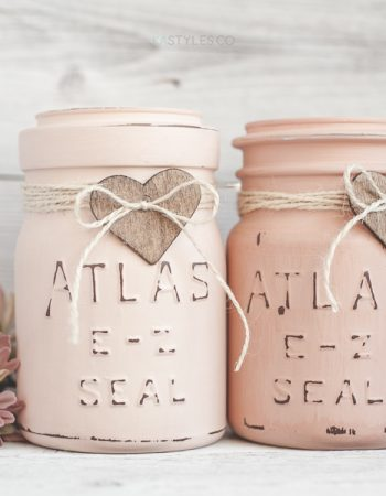 Latex Painted Mason Jars for Valentine's Day