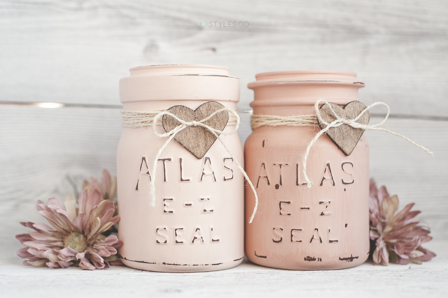 Latex painted vintage mason jars for Valentine's Day decor.
