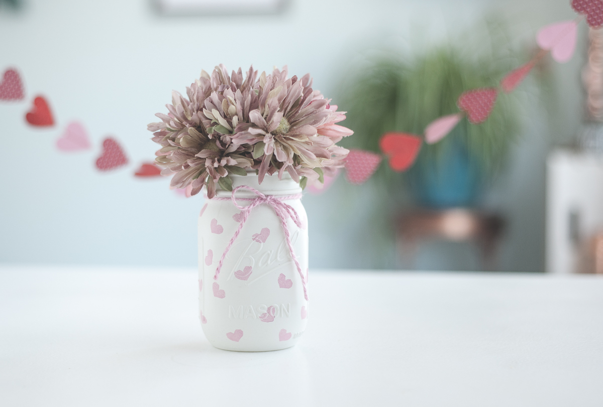 Valentines Day vases. Painted mason jars.