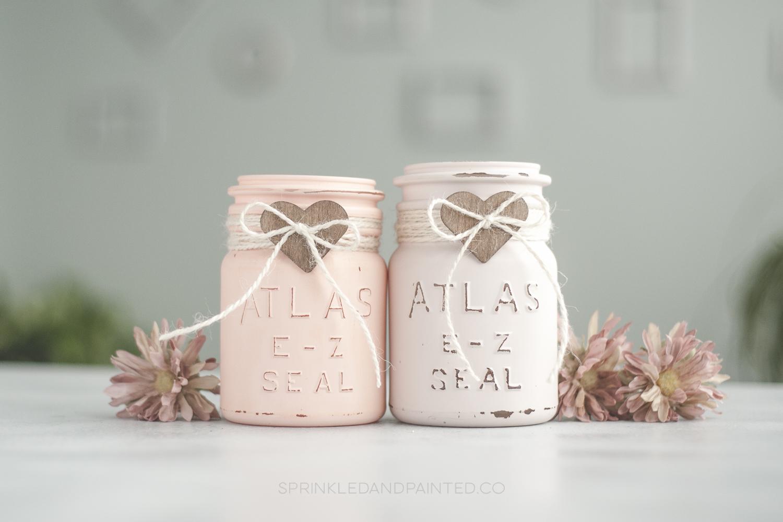 Vintage Valentines Day mason jars, blush pink.