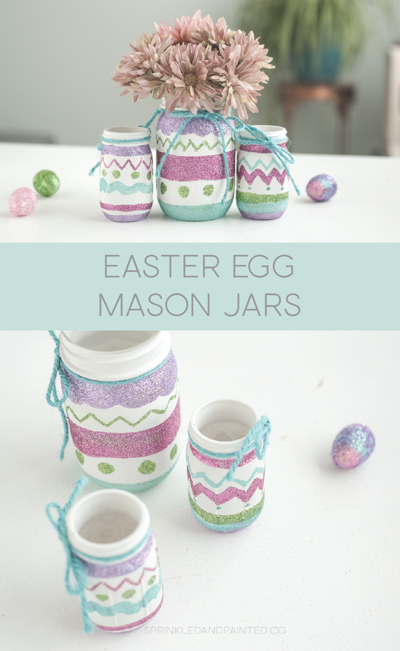 Easter egg mason jar decor.