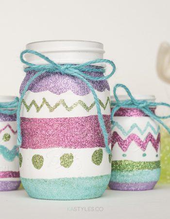 Glitter Easter Egg Mason Jars