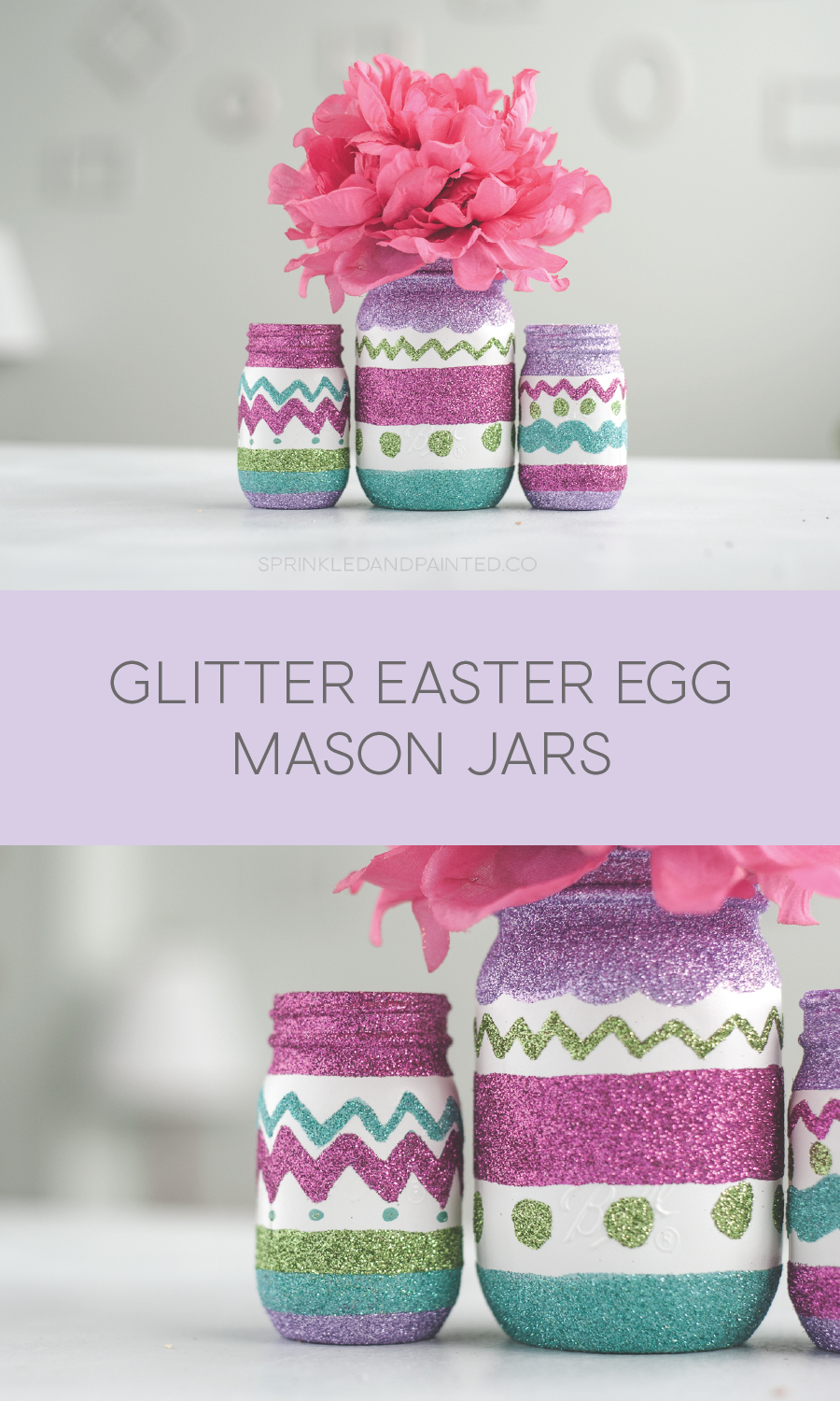 Glitter Easter egg mason jar decor.