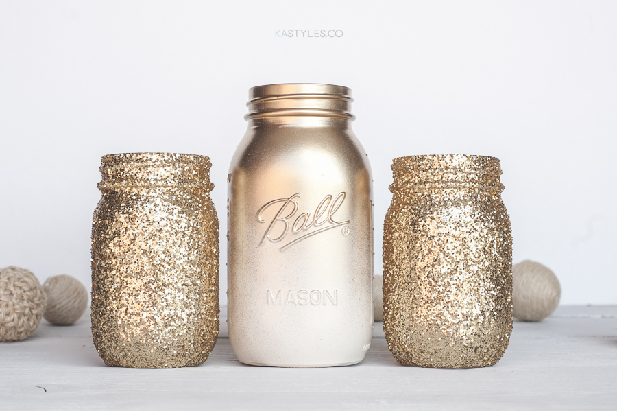 how to add ombre glitter to mason jars